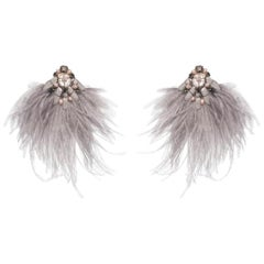 Niteroi-S Ostrich Feather and Mother-of-Pearl Earring