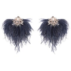 Niteroi-N Ostrich Feather and Mother-of-Pearl Earring