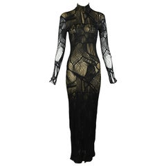 Christian Lacroix Vintage Black Mesh Gown with Gold Slip