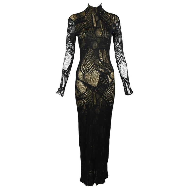 Christian Lacroix Vintage Black Mesh Gown with Gold Slip