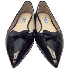 Prada Black Patent Leather Flats