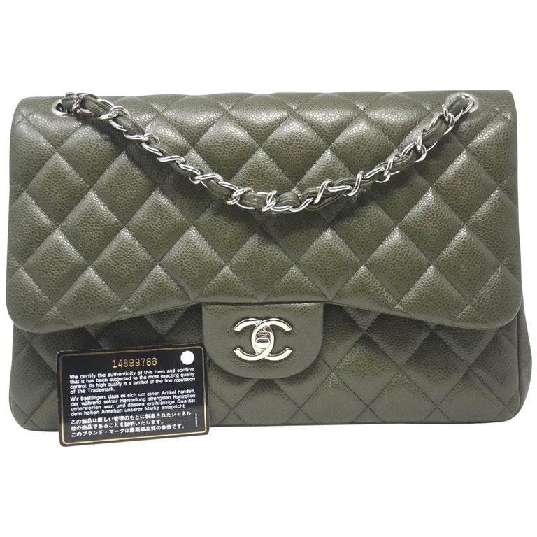 175e25a35ab2ad Chanel Olive Green Jumbo Double Flap Shoulder Bag With Card at 1stdibs