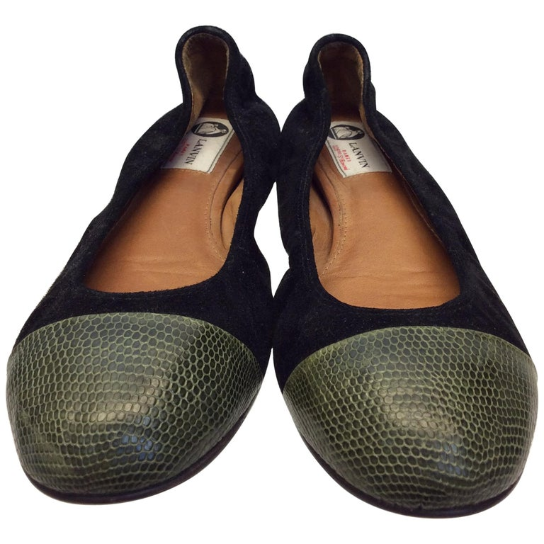 Lanvin Black Suede and Green Skin Flats