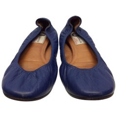 Lanvin Blue Leather Flats
