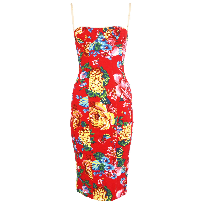 Dolce & Gabbana Vintage Red Floral Stretch