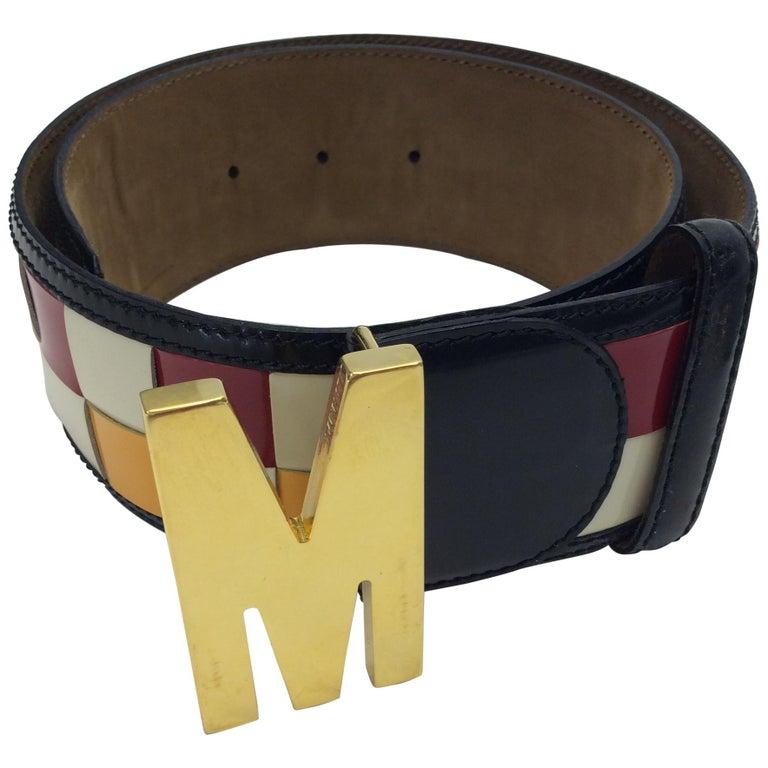 Moschino Red, Yellow, White, and Black Checkered Belt