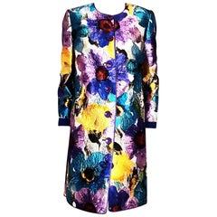Christian Ruperto Alta Moda Floral Print Silk and Wool Coat