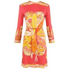 Pucci Coral Yellow Orange Vintage Silk Jersey Dress
