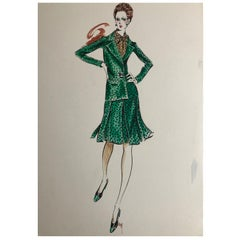 Cardinali Fashion 1970's Original Fashion Illustration by Robert W. Richards