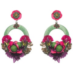 Bonita Floral and Raffia Hoop Earring