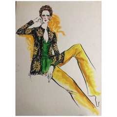 Cardinali Fashion 1970's Original Fashion Illustration by Robert W. Richards