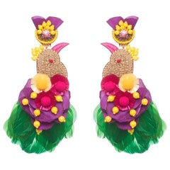 Toucanet Crystal and Coque Feather Earring