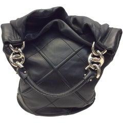 Salvatore Ferragamo Black Leather Bucket Bag