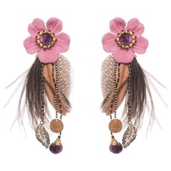 Laelia Guinea and Ostrich Feather Earring
