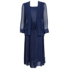 1974 Christian Dior Haute-Couture Navy Pleated Silk Deco Cutwork Dress & Jacket