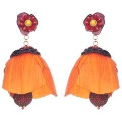 Tecoma Silk Petal and Crystal Earring