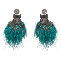 Lindeza Ostrich and Peacock Feather Earring