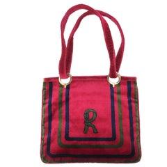 1960's Roberta Di Camerino Velvet Convertible Strap Logo Handbag