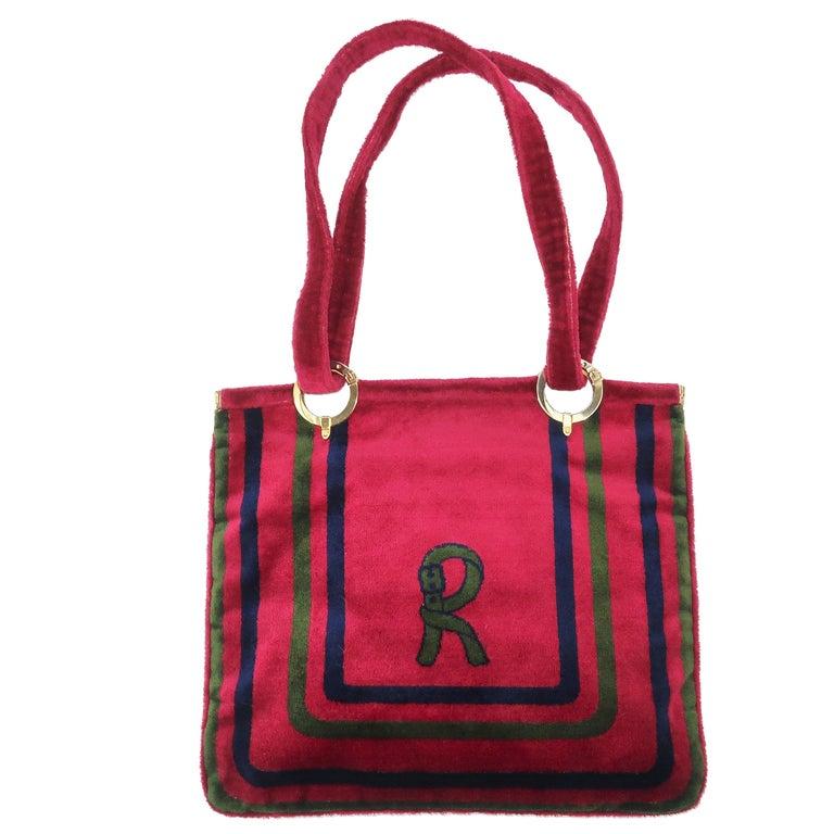 1960's Roberta Di Camerino Velvet Convertible Strap Logo Handbag For Sale