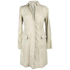 Giorgio Armani Coat Lambskin Leather Winter White 38 / 6 NWT