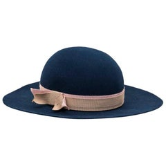 MAISON MICHEL Hat in Blue felt with Beige and Pink Grosgrain Size M