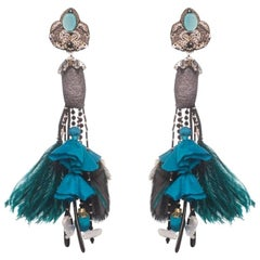Acari Silkworm Cocoon and Ostrich Feather Earring