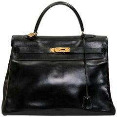 HERMES Vintage Kelly 35 Bag in Black Box Leather