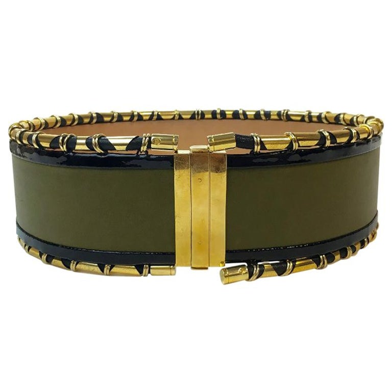 BALMAIN High Waist Belt in Khaki Leather and Golden Metal Tubes Size 40 For Sale
