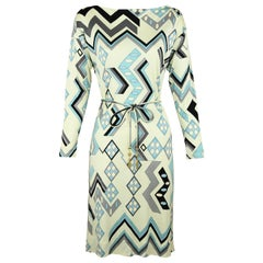Vintage Pucci Off White, Blue & Gray Silk Jersey Dress - Size 2/4