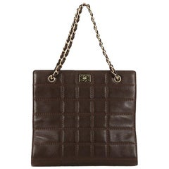 Chanel Chocolate Bar Tote Quilted Leather Medium