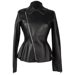 Christian Dior Jacket Black Moto Lambskin Subtle Pink Piping Fits 6 to 8 Mint