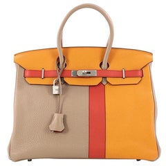 Hermes Birkin Handbag Tricolor Clemence & Swift w/ Brushed Palladium Hardware 35