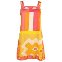 Vintage Pucci Yellow & Pink A-Line Dress - Size 4/6