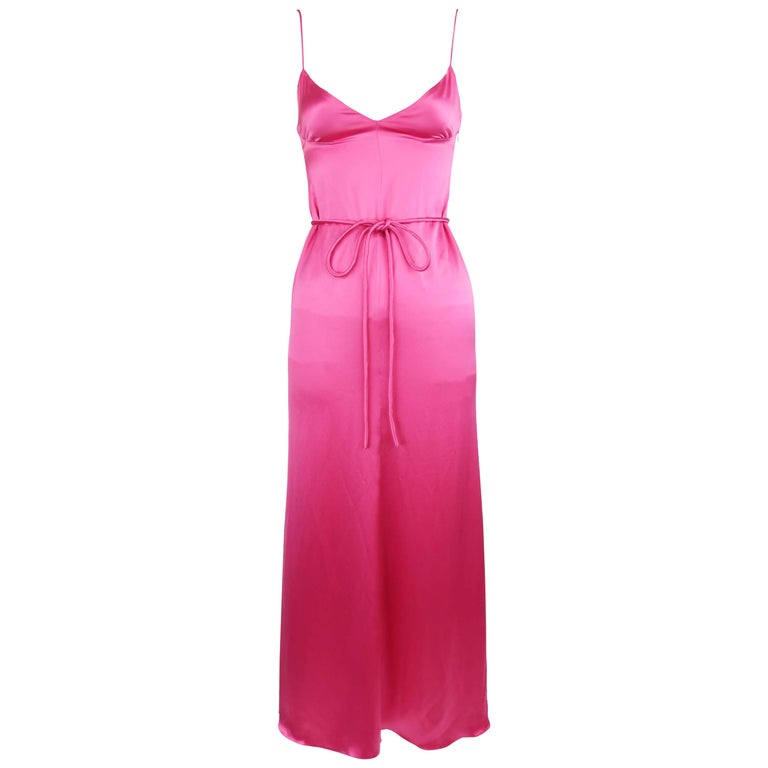 99ec574fb20b Vintage Valentino Pink Charmeuse Gown - Size 4 For Sale at 1stdibs