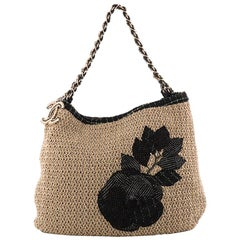 Chanel Coco Country Camellia Tote Woven Straw Large