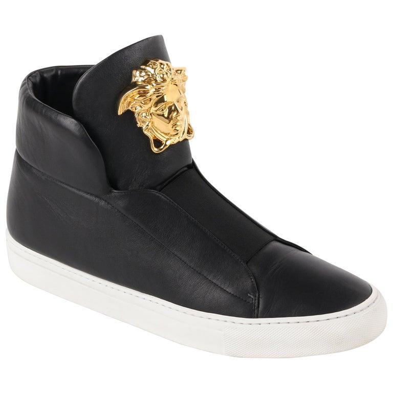 "VERSACE A/W 2015 ""Palazzo Idol"" Black Leather Medusa Head High Top Sneakers"