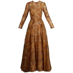 Victoria Royal Vintage Nude Organza Paisley Print Sequin Maxi Dress Gown, 1970s