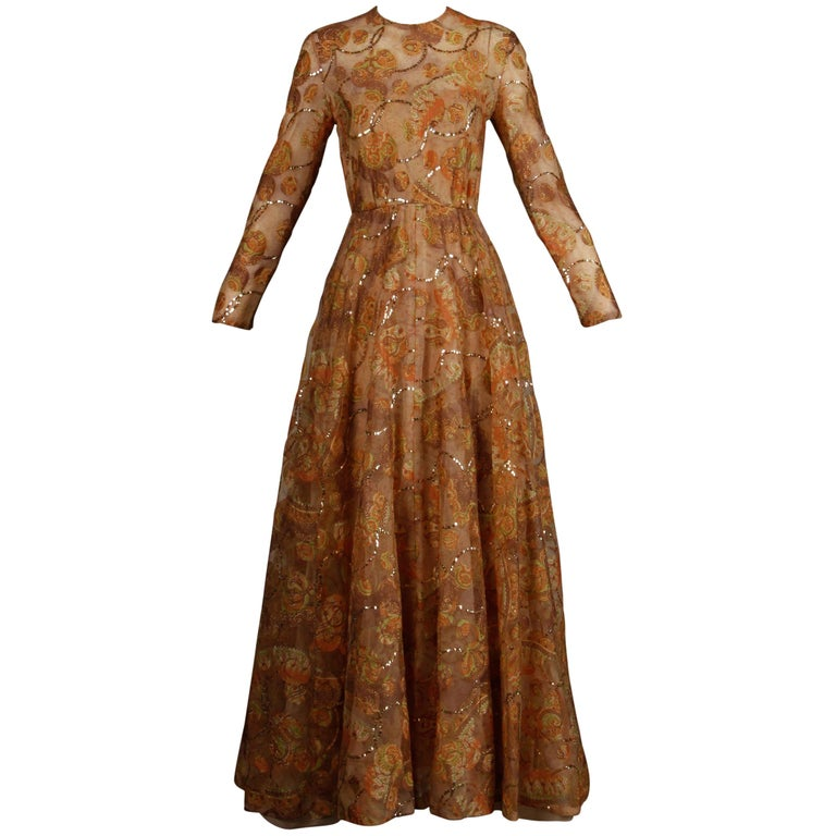 Victoria Royal Vintage Nude Organza Paisley Print Sequin Maxi Dress Gown, 1970s For Sale
