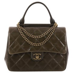 Chanel Gold Bar Top Handle Bag Quilted Aged Calfskin Medium