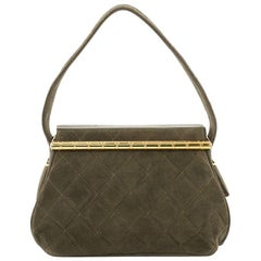 Chanel Vintage Frame Bag Quilted Suede Mini