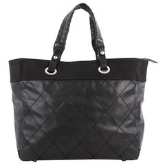 Chanel Biarritz Tote Quilted Coated Canvas Large