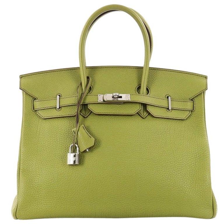 Hermes Birkin Handbag Vert Anis Togo with Palladium Hardware 35 For Sale 114301a398ca2