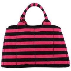 Prada Canapa Tote Printed Canvas Large
