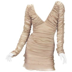 New Tom Ford for Gucci S/S 2003 Sexy Mini Nude Silk Stretch Open Back Dress 38