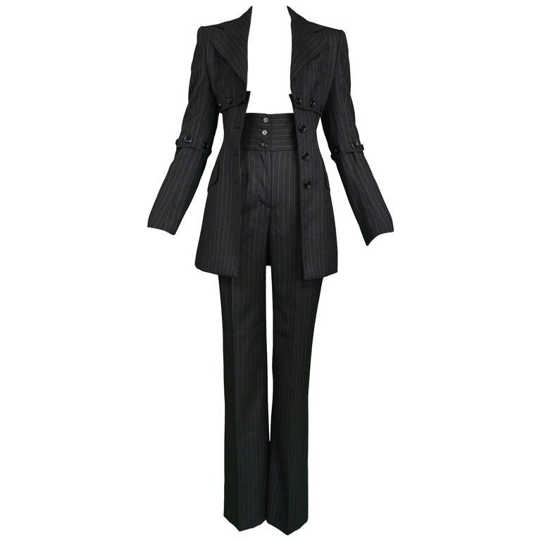 Dolce & Gabbana Vintage Pinstripe Pantsuit For Sale