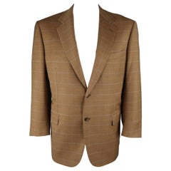 BRIONI 44 Golden Tan Window Pane Wool Two Button Sport Coat / Blazer / Jacket