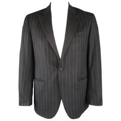 RALPH LAUREN 42 Black Stripe Wool / Cashmere Tuxedo Lapel Sport Coat / Jacket