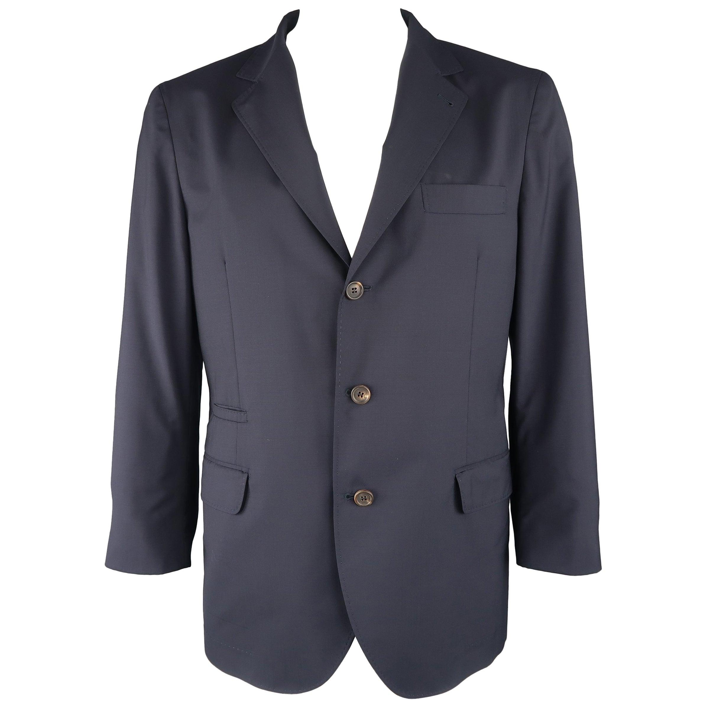 b4b654555 BRUNELLO CUCINELLI 44 R Navy Wool / Silk Notch Lapel Sport Coat / Jacket