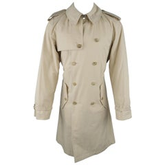 RALPH LAUREN M Khaki Solid Cotton Double Breasted Belted Trench Coat / Jacket