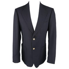 GUCCI by TOM FORD 38 Navy Wool Canvas Metal Button Sport Coat / Jacket / Blazer